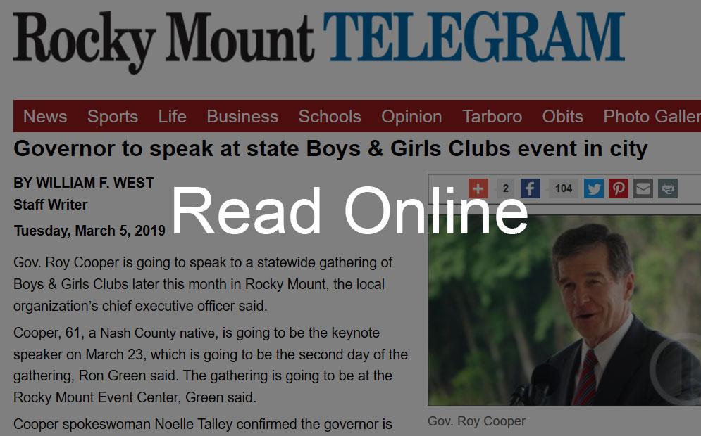 Gov. Roy Cooper to Speak at Boys & Girls Clubs Event